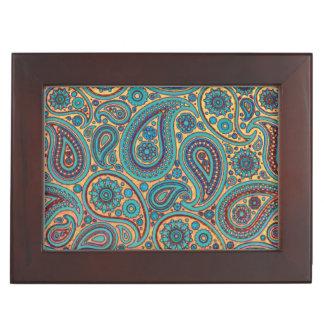 Retro Turquoise Rainbow Paisley motif Memory Boxes