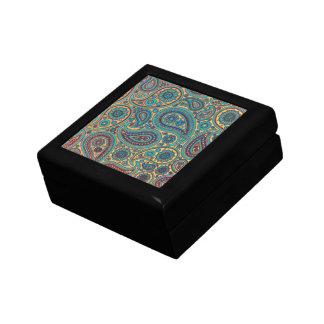Retro Turquoise Rainbow Paisley motif Small Square Gift Box