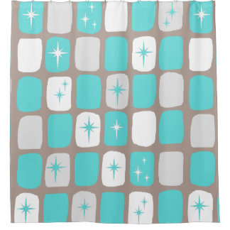 Retro Turquoise Starbursts Shower Curtain