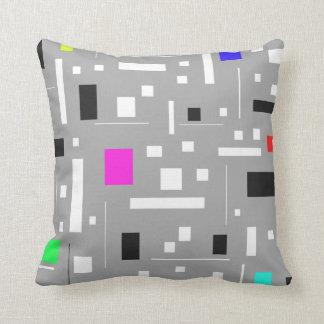 Retro tv abstract Geometric Pattern technicolor Cushion