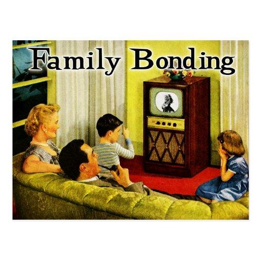Retro TV Family Postcard (Family Bonding)