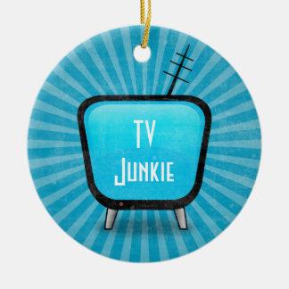 Retro TV Junkie Ceramic Ornament