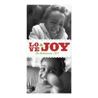 Retro Two Photo Holiday Joy Photo Card