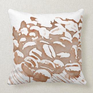 Retro Two-Tone Coffee Bean Throw Pillow