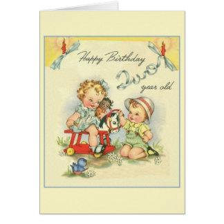 Retro Two Year Old Birthday Greeting Card