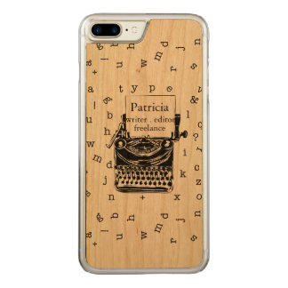 Retro Typewriter Showing  Real Wood  Grain Carved iPhone 7 Plus Case