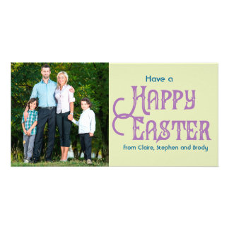 Retro Typography Photo Easter Card Light Green Photo Card Template