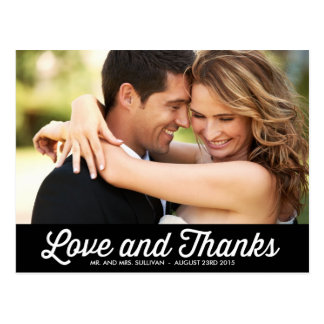 RETRO TYPOGRAPHY PHOTO WEDDING THANK YOU POSTCARD