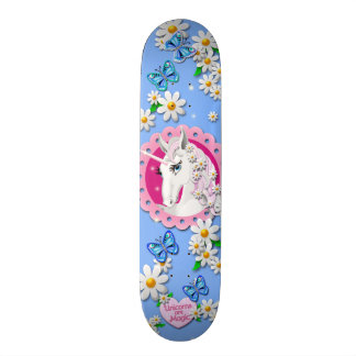 Retro Unicorn and Daisy Pattern on Blue Skateboard