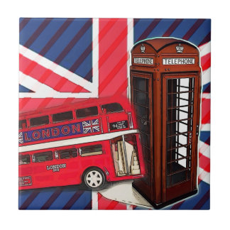 Retro Union Jack London Bus red telephone booth Tile