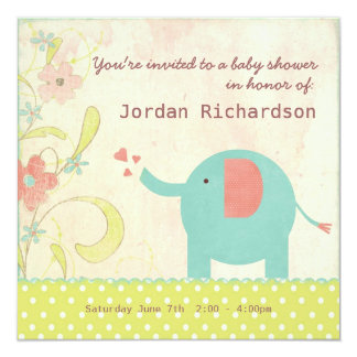 Retro Unisex Elephant Baby Shower 13 Cm X 13 Cm Square Invitation Card