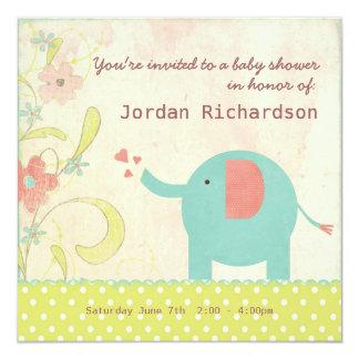 Retro Unisex Elephant Baby Shower 13 Cm X 13 Cm Square Invitation Card