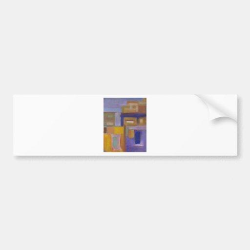 retro urban purple yellow abstract cityscape bumper sticker