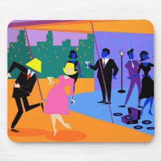 Retro Urban Rooftop Party Mousepad