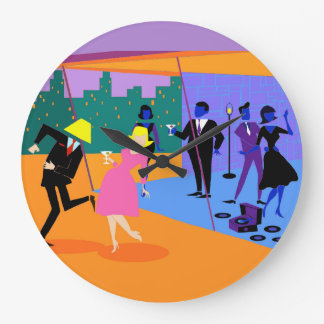 Retro Urban Rooftop Party Wall Clock