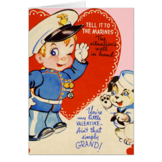 Retro US Military Valentine's Day Kids Card