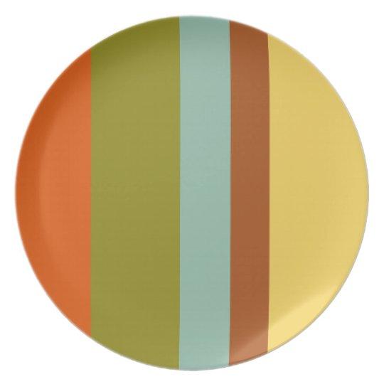 Retro Vacation Palette Stripe Plate