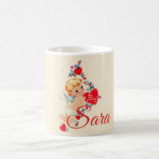 Retro Valentine Cherub Personnalised Coffee Mug
