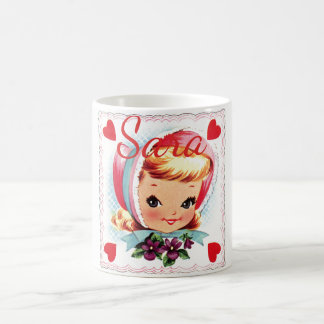 Retro Valentine Girl Personnalised Coffee Mug