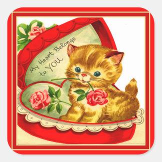 Retro Valentine ~ Kitten in a Box Sticker