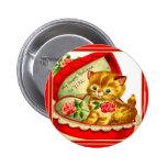 Retro Valentine ~ Kitten In a Heart-Shaped Box 6 Cm Round Badge