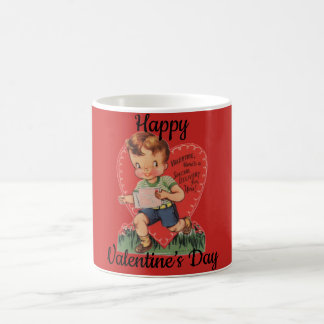Retro Valentine's Boy with Heart Coffee Mug
