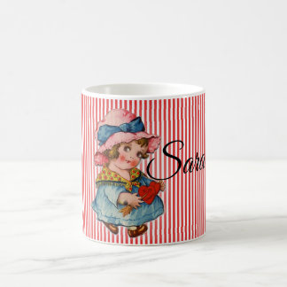 Retro Valentine's Girl with Heart Coffee Mug