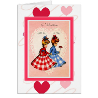 Retro Valentine ~Twins in Gingham Card