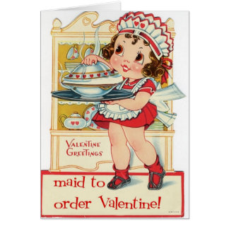 Retro Valentine's Day Maid Greeting Card