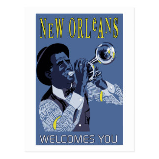 Retro vector Art New Orleans jazz trumpet player Postcard