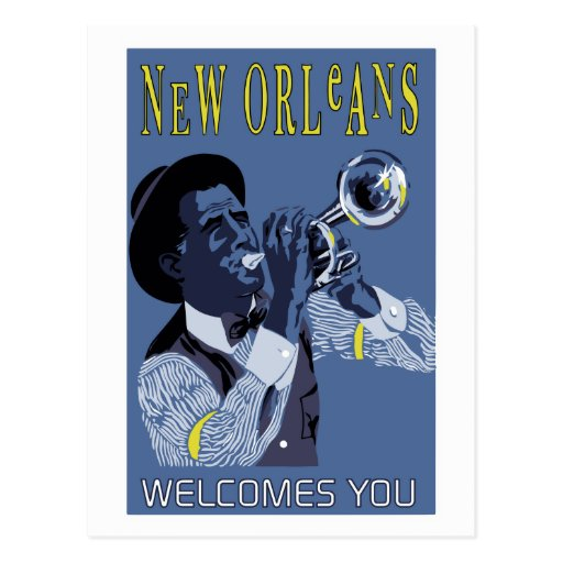 Retro vector Art New Orleans jazz trumpet player Postcards