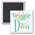 Retro Veggie Diva Fridge Magnets