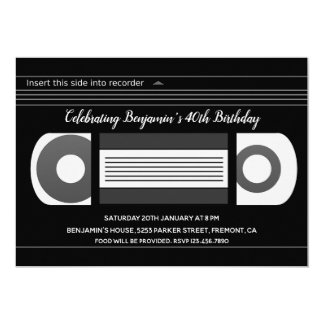 Retro VHS Video Cassette Tape Birthday Invitation