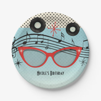 Retro Vintage 1950's Fifties Birthday Party Custom 7 Inch Paper Plate