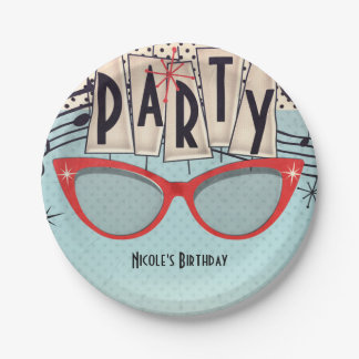 Retro Vintage 1950's Fifties Birthday Party Custom Paper Plate
