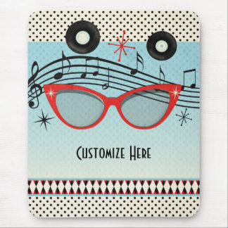 Retro Vintage 1950's Fifties Red Cat Eye Glasses Mouse Pad