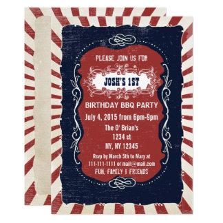 Retro Vintage 4th of july birthday invitations