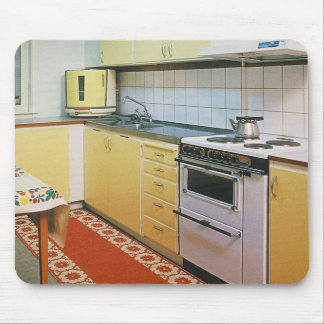 Retro Vintage 50s Kitchen Scene Computer Mousepad