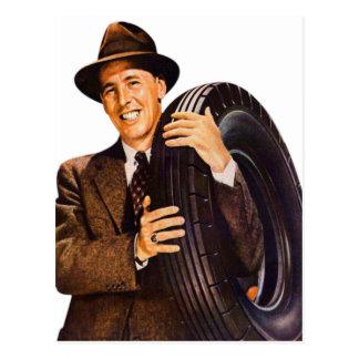 Retro Vintage Advertisement 40s Man with Tire Postcard