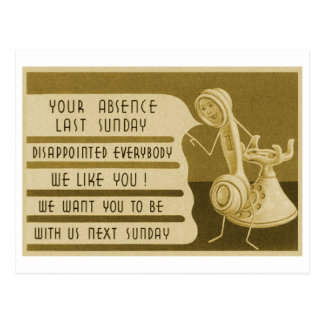 Retro Vintage Advertisement Sunday School Reminder Postcard