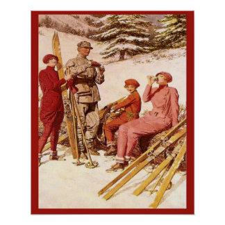 Retro vintage advertising, Ski poster, Fashion Poster