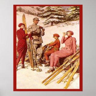 Retro vintage advertising, Ski poster, Fashion Poster