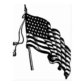 Retro Vintage American Flag Postcard