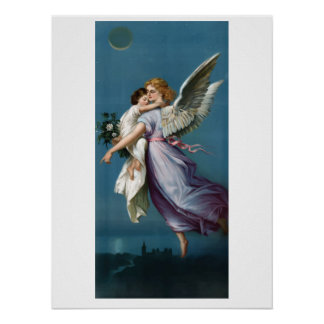Retro Vintage Angle with Child in Heaven Poster