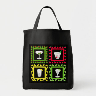 Retro Vintage Art Martini, Old Fashioned, Highball Grocery Tote Bag
