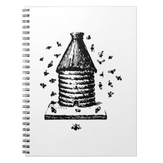 Retro Vintage Black & White Bee Hive & Bees Notebooks