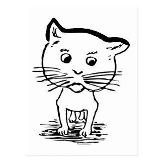 Retro Vintage Black & White Cute Little Pet Cat Postcard