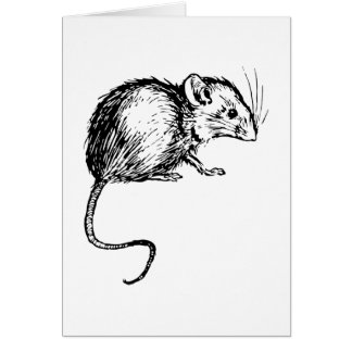 Retro Vintage Black & White Fluffy Mouse Card