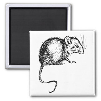 Retro Vintage Black White Fluffy Mouse Refrigerator Magnet