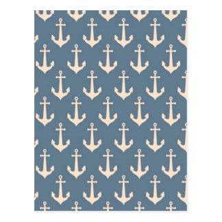 Retro Vintage Blue White Anchor Pattern Postcard